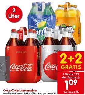 [SPAR / INTERSPAR / EUROSPAR] Coca Cola/Light/Zero, Sprite, Fanta 2 Liter ! ab 4 Stück