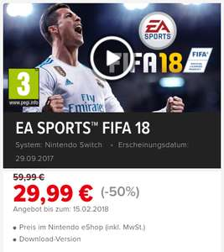Fifa 18 im Nintendo e-shop um 29.99 **Aktion Spielspaß für alle** (auch andere Titel, siehe Beschreibung)