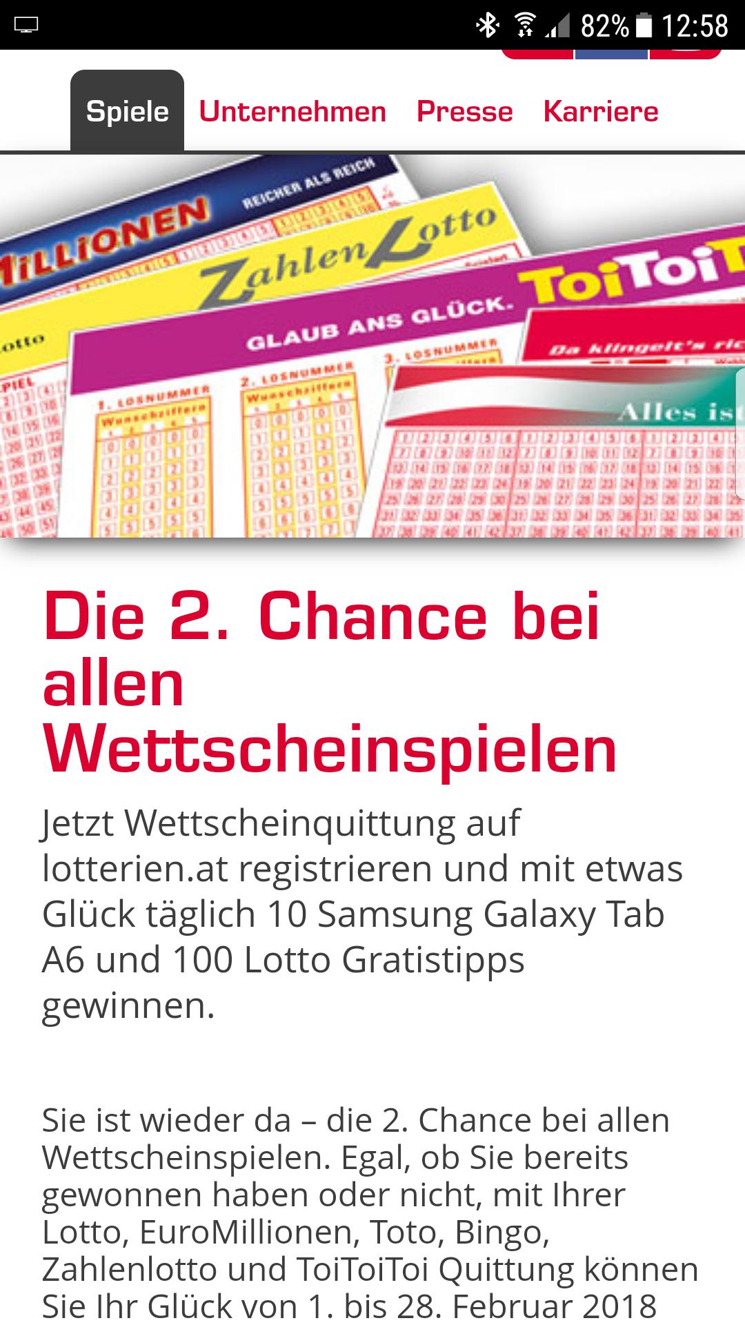 Lotterien.at - 2. Chance bei allen Wettscheinspielen