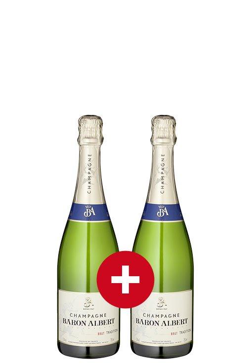 1+1-Gratis-Champagner-Paket Baron Albert Tradition Brut + Korkenzieher