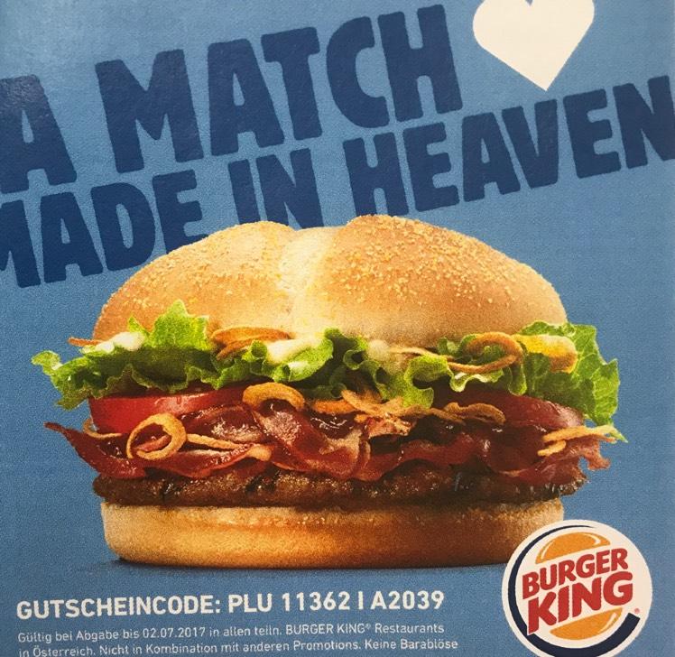 Burger King Gratis Steakhouseburger mit Tinder App