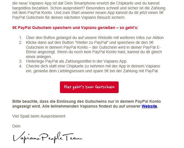 5€ Rabatt bei VAPIANO bei Hinterlegung eines PayPal Kontos