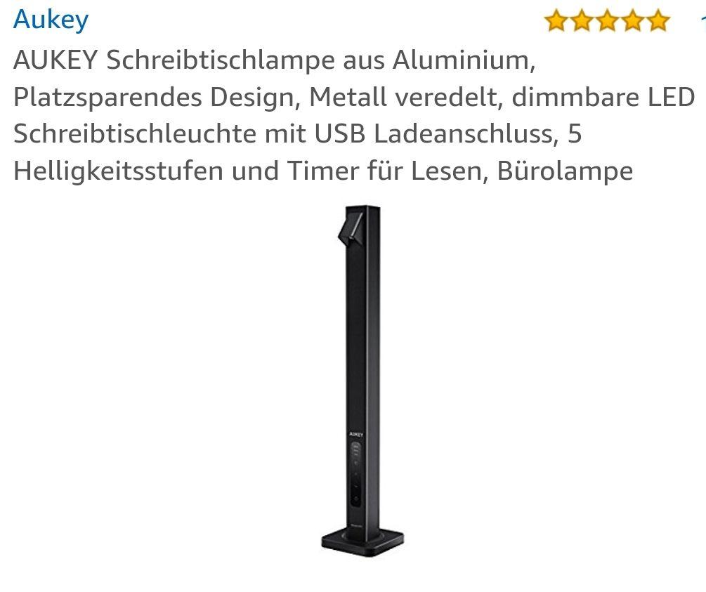 AUKEY Schreibtischlampe aus Aluminium inkl. 2 USB Ports mit Gutschein um 15.99