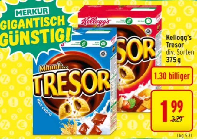 Kellogg's Tresor für 1,99€ statt 3,29€