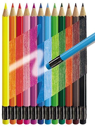 (Amazon Plus) Faber-Castell - 12x Radierbare Buntstifte mit Gummitip