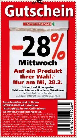 INTERSPAR -28% Rabatt auf ein Produkt Ihrer Wahl am Mi 28.2.