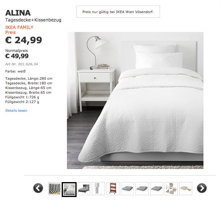 IKEA FAMILY: ALINA Tagesdecke + Kissenbezug 50% günstiger beim IKEA Vösendorf