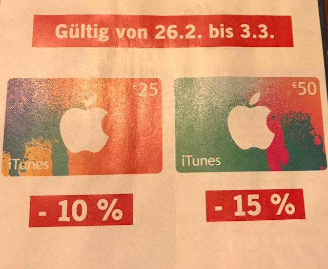 [www.LIDL.at Offline-Stores] -10% Rabatt bei 25 € oder -15% Rabatt bei 50 € iTunes Guthaben Karten Gültig vom 26.2 bis 3.3.2018