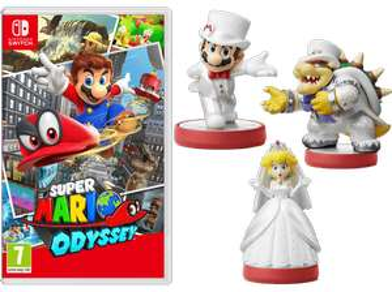 Saturn: Super Mario Odyssey + 3 amiibo Super Mario Odyssey Figuren