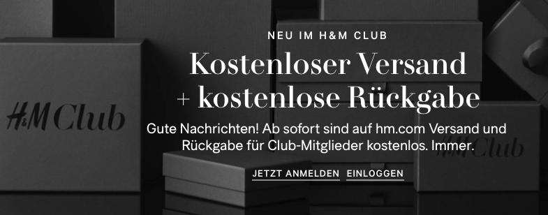 H&M: Kostenloser Versand + kostenlose Rückgabe für Club-Mitglieder