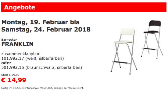 Ikea Family: [IKEA Vösendorf] FRANKLIN Barhocker