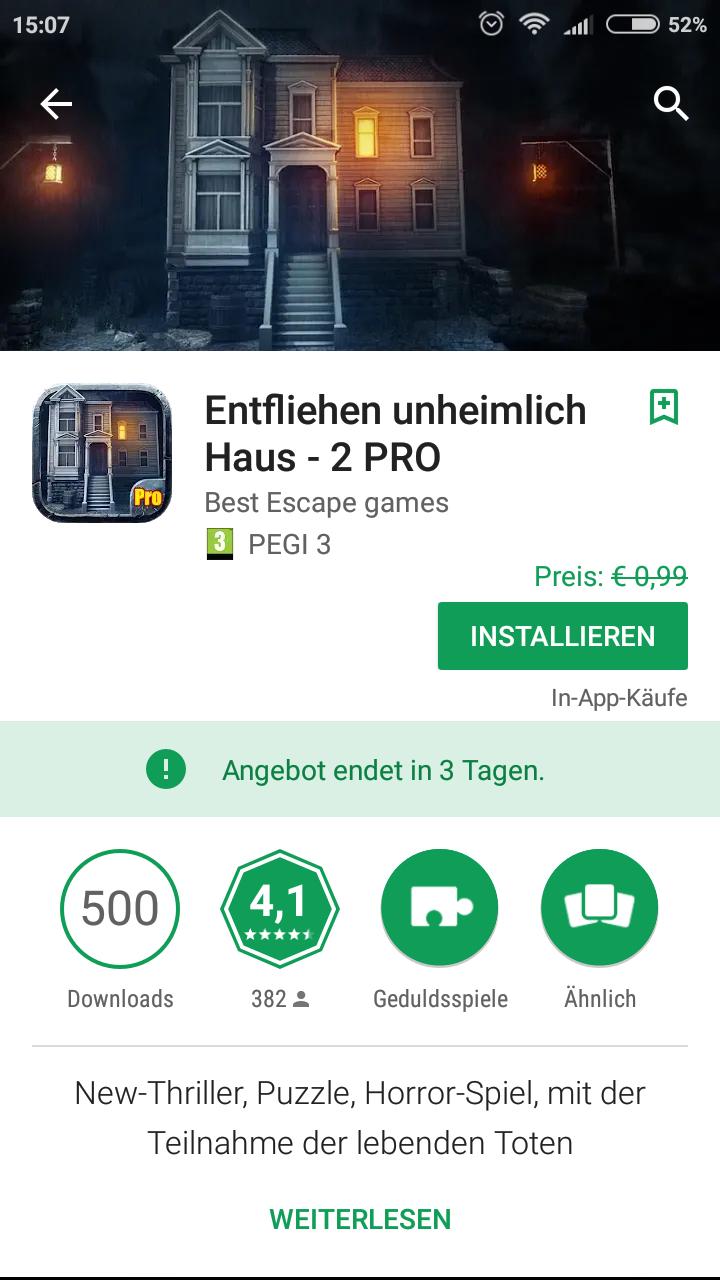 Entfliehen unheimlich Haus 2 Pro Google Playstore
