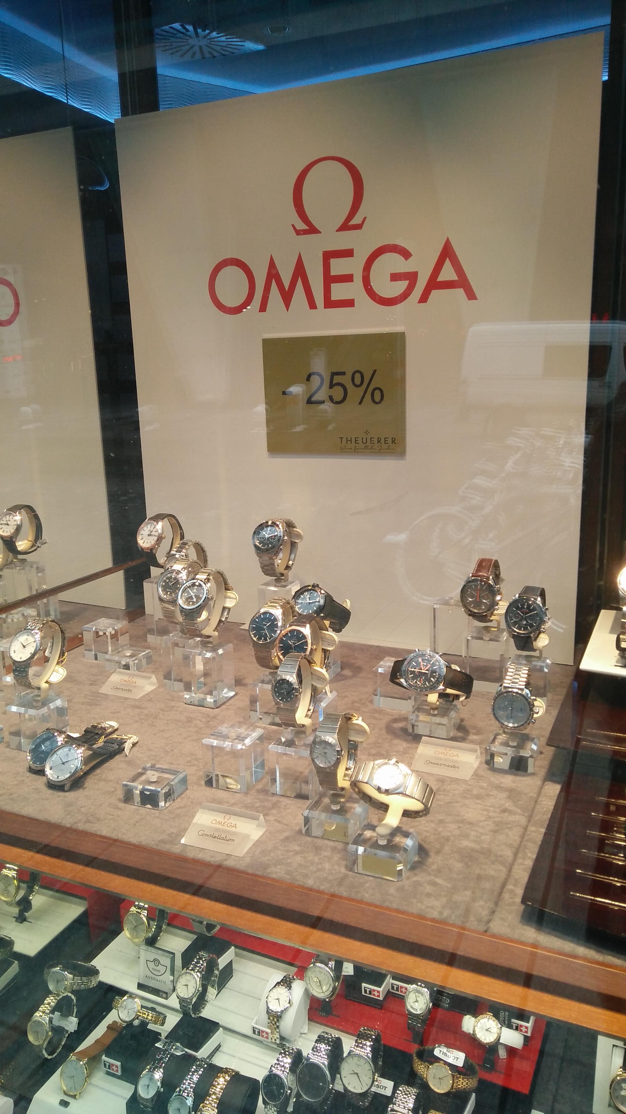 -25% auf lagernde OMEGA Uhren bei Theuerer in Wien Mitte