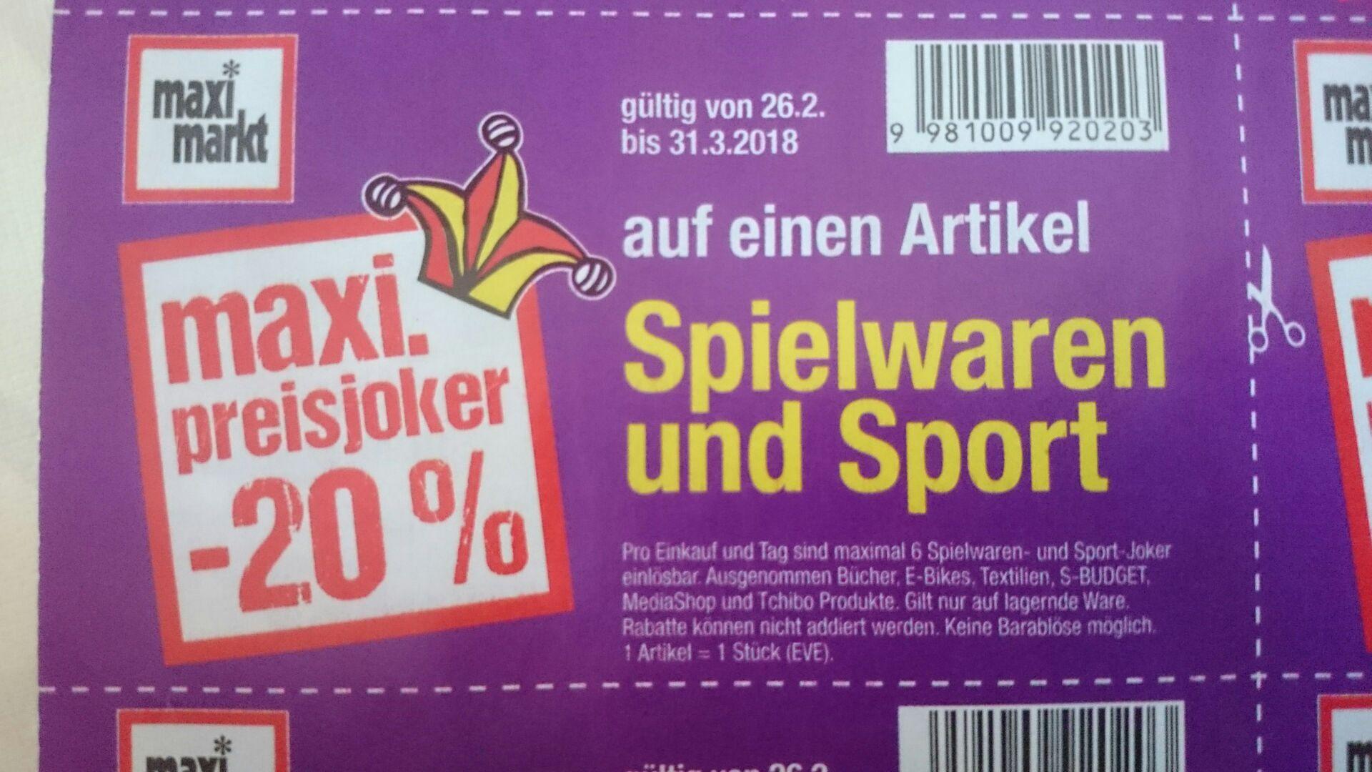 Maxi Markt 20% Preisjoker Coupon auf Spielwaren und Sport