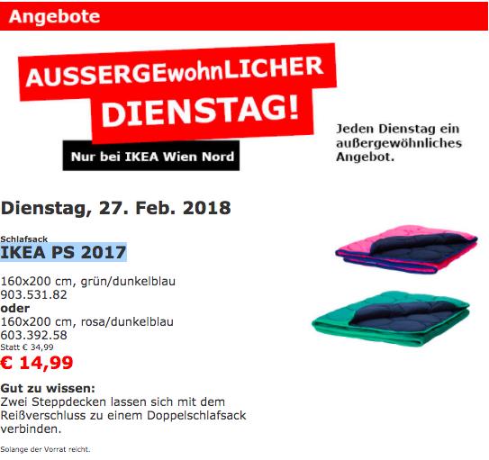 IKEA Wien Nord: Schlafsack IKEA PS 2017