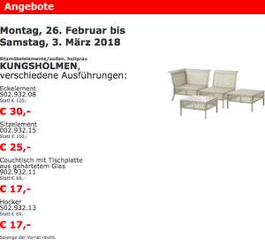 Ikea Vösendorf: Sitzmöbelelemente KUNGSHOLMEN Set