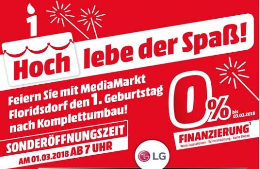 Media Markt Wien Floridsdorf - 1. Geburtstag nach Umbau mit vielen Angeboten am 1. März ab 7 Uhr