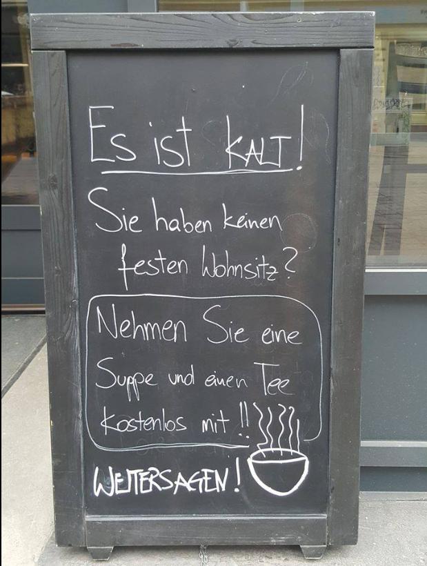 [Wien, Lokal] Gratis Suppe und Tee für alle, die kein festen Wohnsitz haben.