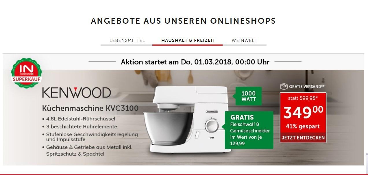 Kenwood 3100W Küchenmaschine + Fleischwolf + Gemüseschneider am 01.03.2018