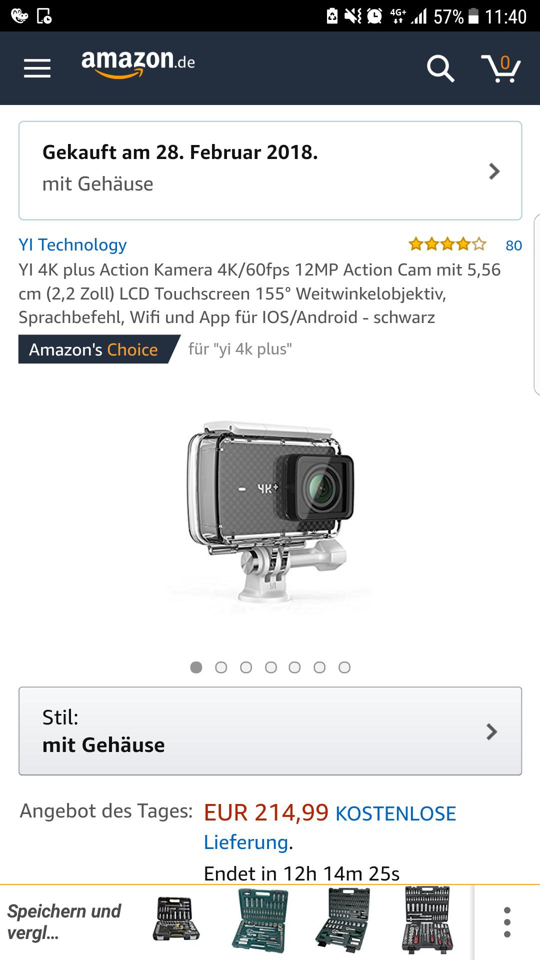 [Amazon]Yi 4k+(mit Gehäuse)+YI Type C Konverter Kabel zu RCA Angebot des Tages um 214,99€