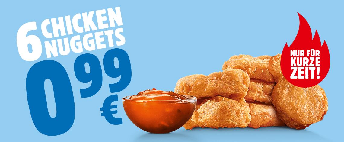 Burger King: 6 Chicken Nuggets für 0,99€