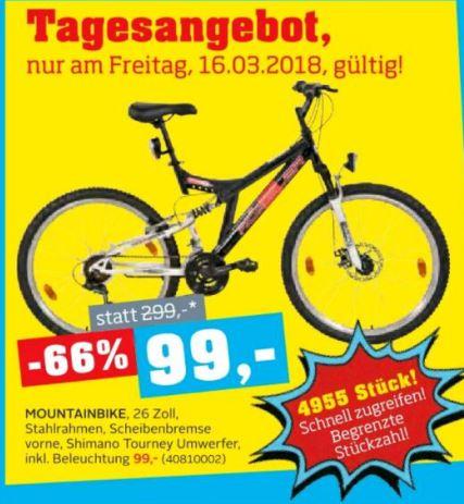 """[Möbelix] Tagesangebot Moutainbike 26"""" für 99 € - nur am 16.3.2018 und 4955 Stück"""