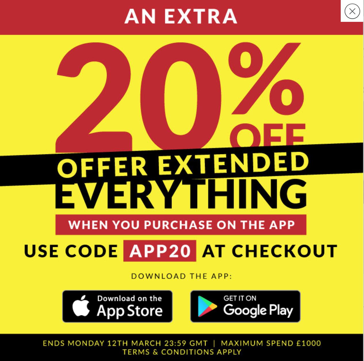 Sports Direct online 20% auf Alles bei Kauf in der App