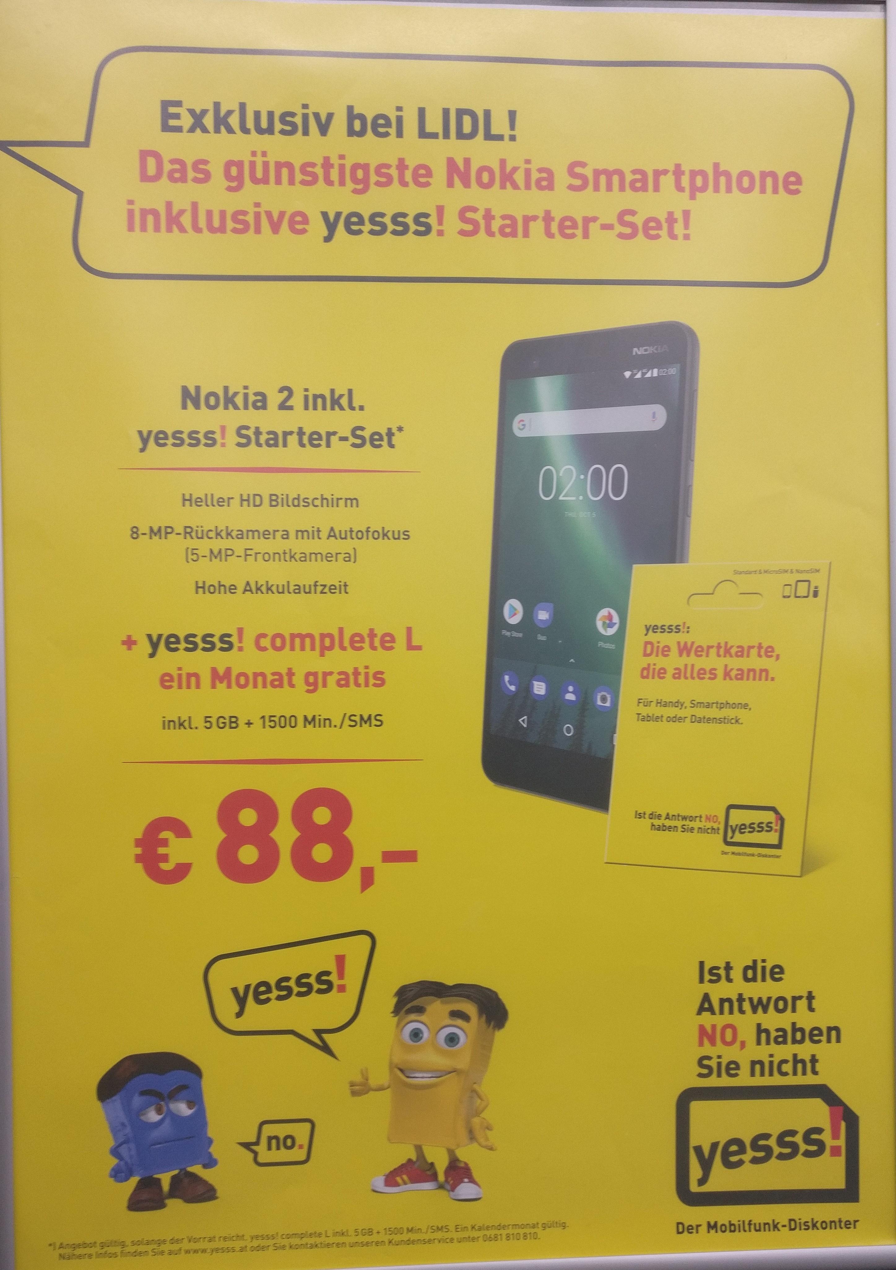 [LIDL] Nokia 2 + yesss! complete L ein Monat gratis