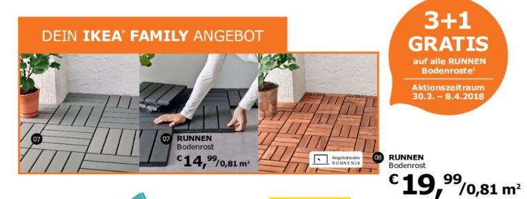 [Ikea] 3+1 Bodenfliesen RUNNEN für Balkon/Terrasse 30.3.-8.4.2018 für Ikea Family Mitglieder