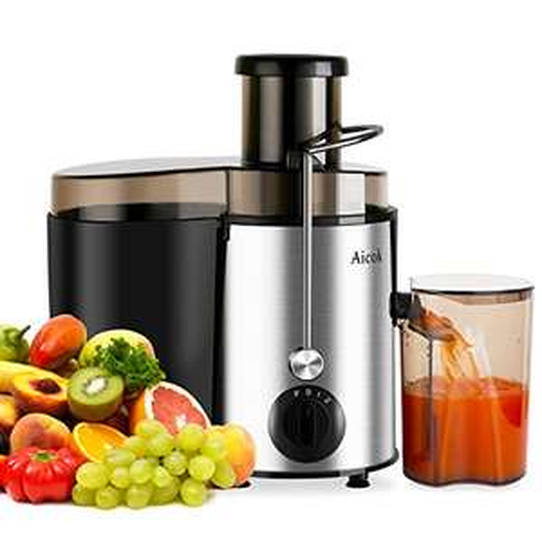 Entsafter Edelstahl Trennscheiben Juicer 2 Geschwindigkeiten Für Obst und Gemüse Mit Saftbehälter und Reinigungsbürste