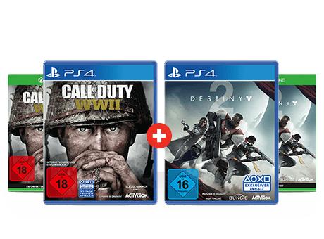 GameStop.at Blockbuster Bundle Call of Duty: WWII und Destiny 2  für PS4/XBOX
