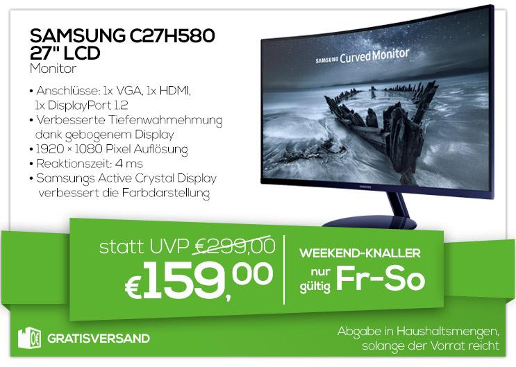 "Samsung C27H580, 27"" Curved LCD Monitor (1920x1080) für 159€"