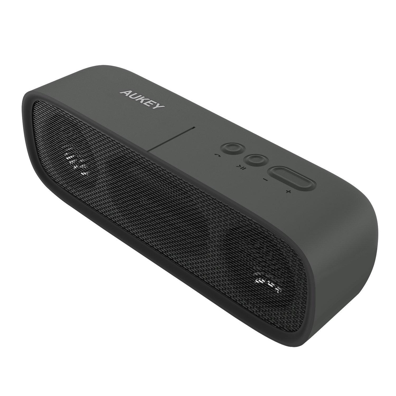 AUKEY Bluetooth Lautsprecher Wasserdicht, Tragbarer Outdoor Lautsprecher mit 14 Stunden Spielzeit, Aux-In und Eingebautes Mikrofon für iPhone, Samsung, HTC, iPad, Tablets usw. (Schwarz)
