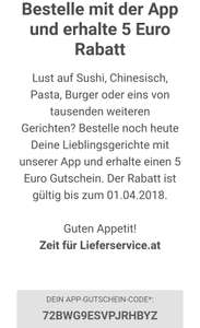 5€ Rabattcode via Lieferservice.at APP
