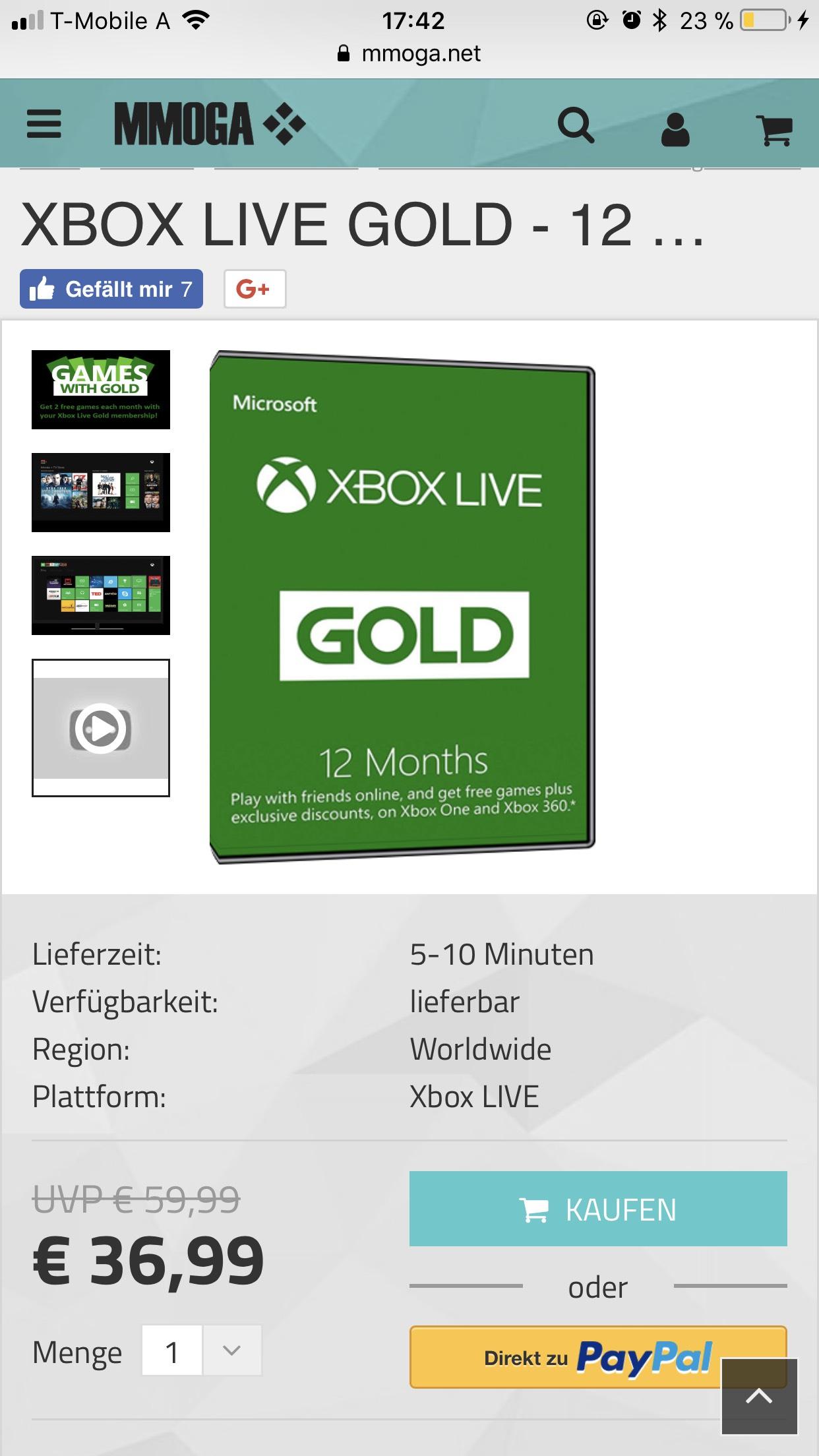 Xbox Live Gold Mitgliedschaft 12 Monate