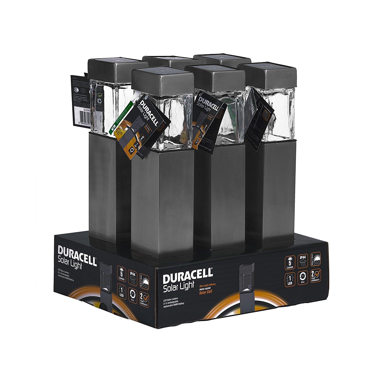 [www.AMAZON.de] Duracell Solar LED Außenleuchte aus Glas und gebürstetem Edelstahl mit Erdspieß im 6-er Vorteilspack, 5 L, hellweiß GL004NT6DU  für Prime Kunden € 23,51 als Vorbestellung