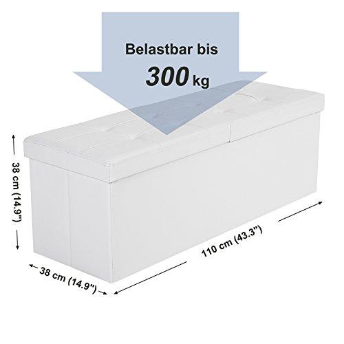 SONGMICS faltbare Sitzbank 120 L Halbdeckel/klappbar weiß/schwarz