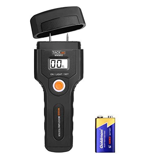 Feuchtemessgerät,Holzfeuchtemessgerät mit LCD-Anzeige, 5 ~ 42% Messbereich,Batterie Enthalten