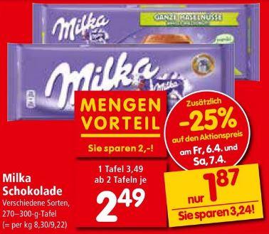 INTERSPAR Milka Schokolade 270-300g alle Sorten ab 2Stk. 6.4. + 7.4.