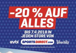 20% auf Alles in Sportsdirect Filialen