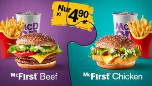 McDonald's - McF1rst Menü (Burger, Pommes, Getränk)