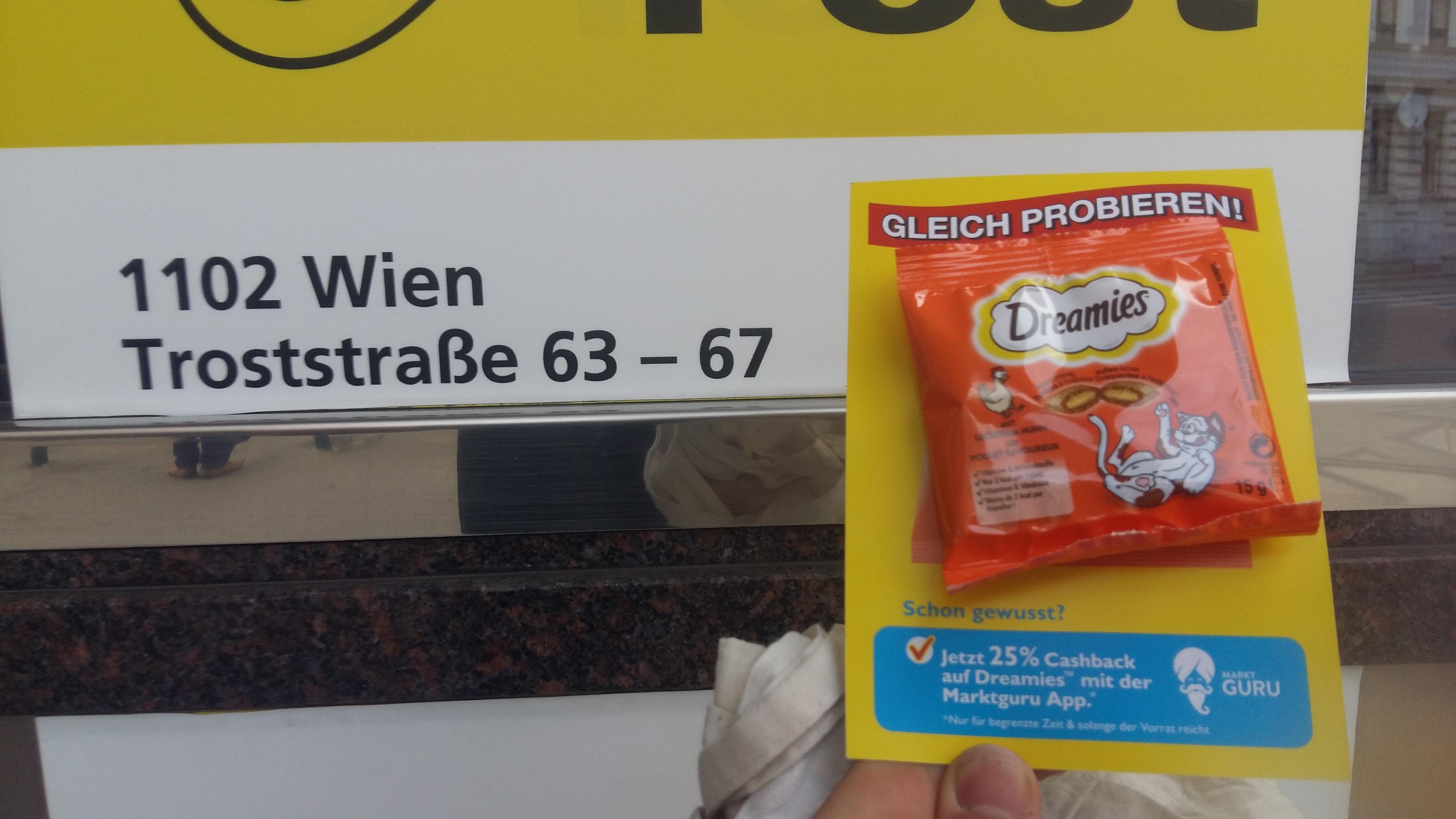 Dreamis Katzen Snacks: kleine Packungen gratis in der Postfiliale Troststraße 63-67, 1100 Wien