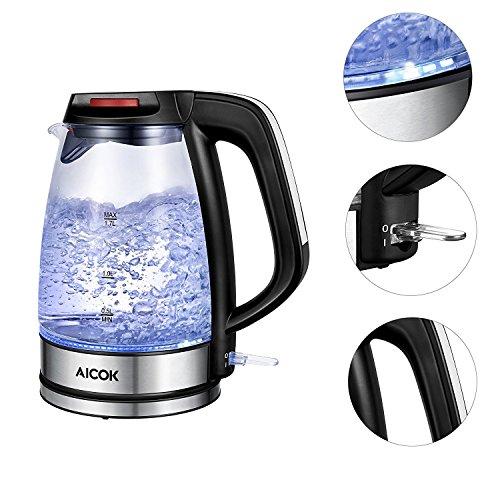 Edelstahl Wasserkocher 1.7 Liter blaue LED Beleuchtung 360 Grad, 2200 Watt