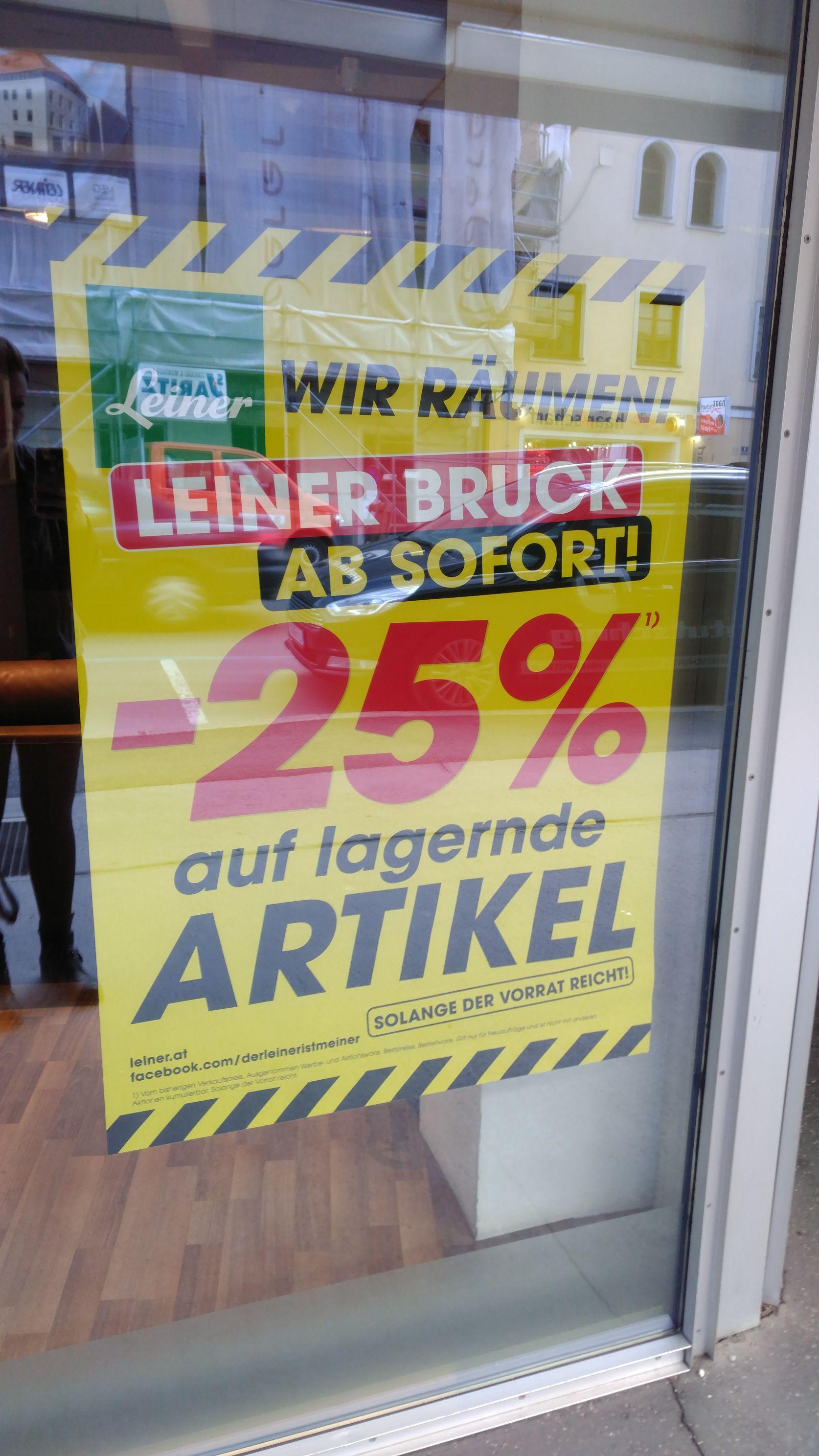 Leiner in Bruck an der Mur sperrt zu - Beginnend mit 25% auf (fast) alles!