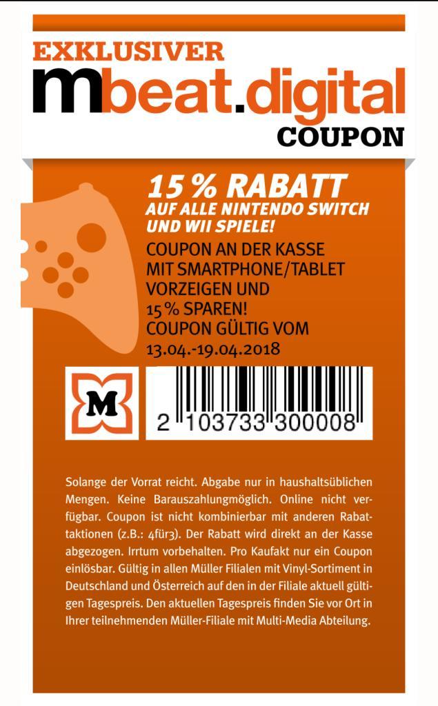 15% Gutschein auf alle Nintendo Switch und Nintendo Wii Games bei Müller