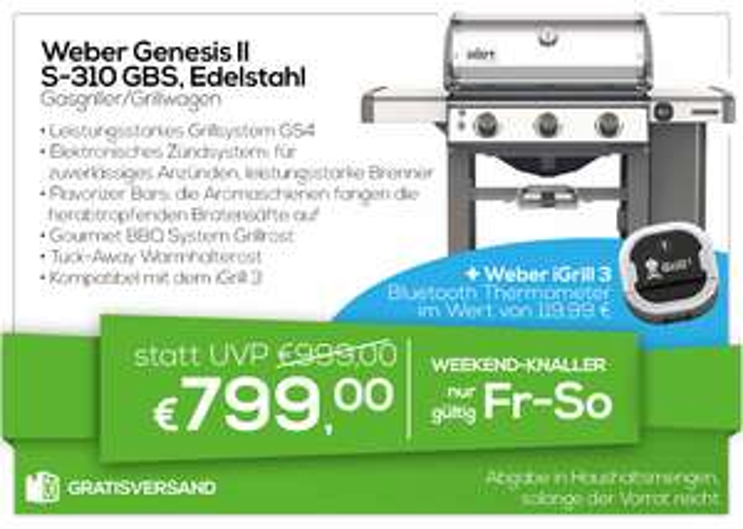 Weber Genesis II S-310 GBS Edelstahl + Weber iGrill 3 Bluetooth Thermometer für 799€
