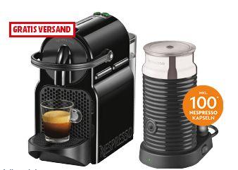 DE LONGHI Nespresso Kaffeemaschine Inissia & Milk EN 80 BAE Black + 100 Nespresso Kapseln