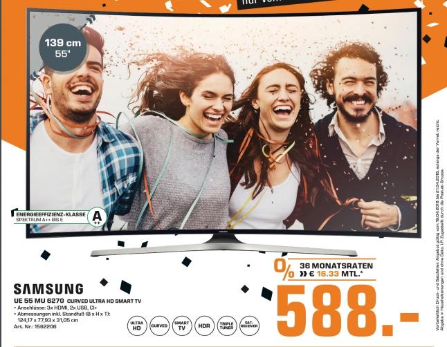 Saturn Wien Columbus Center: Samsung UE55MU6270UXZG Curved 4K Ultra HDR TV für 588€