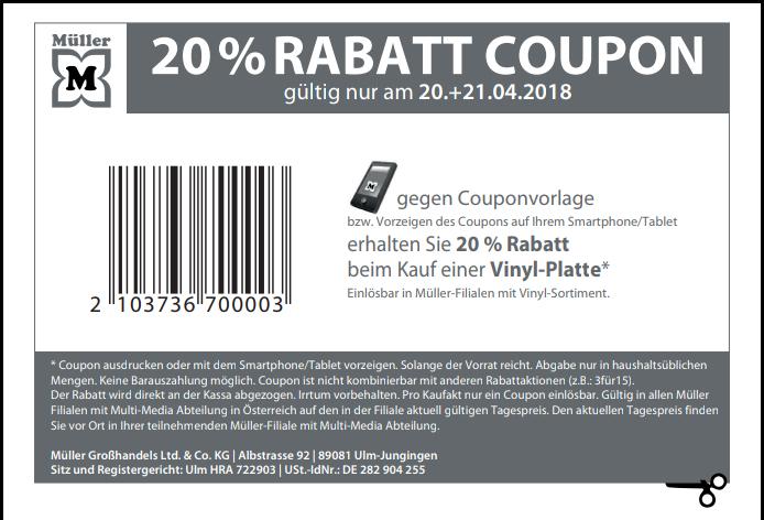 Müller Lokal: 20 % Rabatt beim Kauf einer Vinyl-Platte am 20.+21.04.
