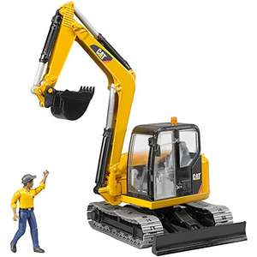 "Bruder ""Cat Minibagger mit Bauarbeiter"""